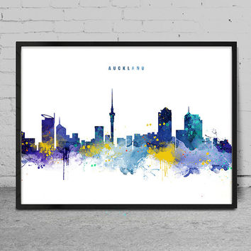Auckland Skyline, Auckland New Zealand Cityscape Art Print, Watercolor Painting, Wall Art, Cityscape, City Wall art, Artwork, Art -x144