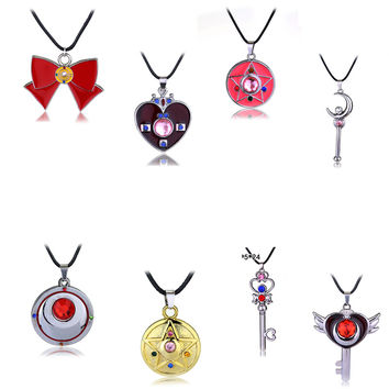 Free Shipping For 1 Pcs Bohemia Style Cartoon Sailor Moon Crystal Star Enamel Statement Necklace Women Pink Pendant Necklace Hot