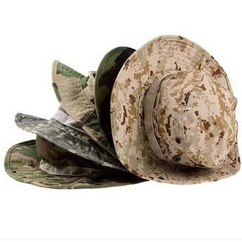 Camouflage Military Style Cotton Wide Brim Hat