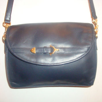 vintage ETIENNE AIGNER dark Blue LEATHER shoulder Buckle messenger bAG Purse handbag