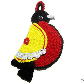 Crochet bird potholder, Colorful handmade potholder, Presina uncinetto a forma di uccello