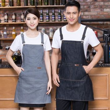 New Denim Apron With pocket gray Cafe fashion Cowboy Unisex Aprons for Woman Men Kitchen Chef Waiter Cooking print logo