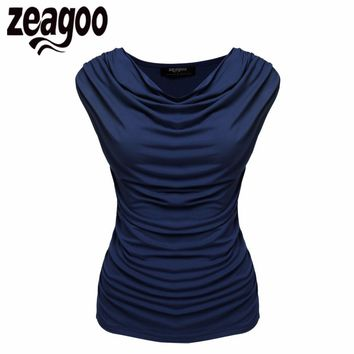Zeagoo Women T-Shirt Casual Cowl Neck Sleeveless Ruched Slim Fit Tank Tops 2017 Summer Solid Cotton T Shirt Fashion Lady Tee Top