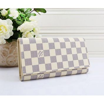 LV Fashion New Monogram Check Print Leather Clutch Wallet Purse White Tartan