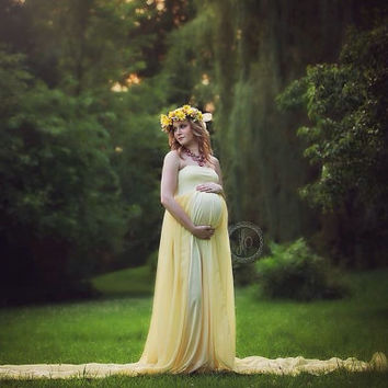 Angel banana chiffon maternity gown with lining/Sheer maternity gown / Maternity Dress/ Maxi Dress/ Senior photo shoot / Modeling