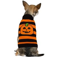 Striped Pumpkin Dog Sweater - Party City