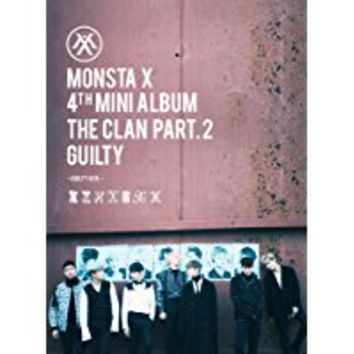 KPOP MONSTA X 4th Mini Album - The CLAN 2.5 Part.2 Guilty [Guilty version] CD + Poster + Photobook + Photocard + Gift (4Photocards Set)