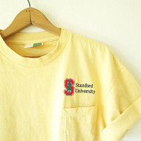 Vintage 1990s STANFORD Cardinal University MATH & Computer SCIENCE Embroidered Pocket T Shirt Sz L