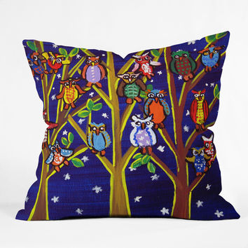 Renie Britenbucher Owl Party Throw Pillow