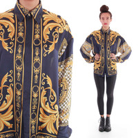 90s Silk Baroque Royal Gold Navy Hipster Hip Hop Swag Button Down Blouse Shirt Versace Style 1990's Vintage Clothing Unisex Medium Large