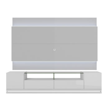 Vanderbilt TV Stand and Lincoln 2.2 Floating Wall TV Panel with LED Lights in White Gloss