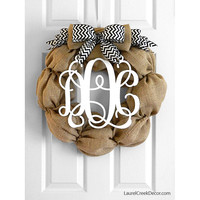 Burlap Wreath in Black and White Chevron with Wood Monogram Initials