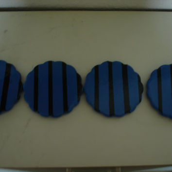 Blue and Black Stripped Ceramic Coaster Orginal Hand Painted Set of 4