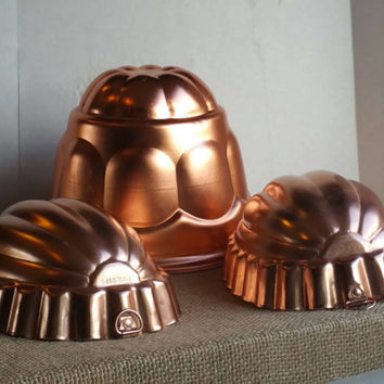 Lot of 3, vintage copper jello molds