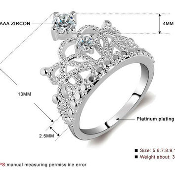 Crowns Rings Paved Tiny Clear 1.1mm 0.01ct Zirconia Fashion Jewelry For Women