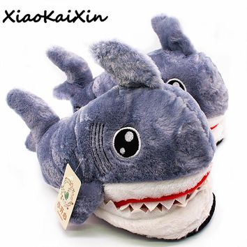 Mens Winter Super Animal Funny Shoes Warm Soft Bottom Home House Indoor Floor Shark Shape Furry Slippers
