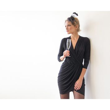 Black long sleeve wrap mini dress  1035