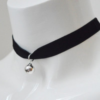 Kitten play day choker - velvet ribbon - with silver bell - kittenplay ddlg cute necklace for everyday wearing