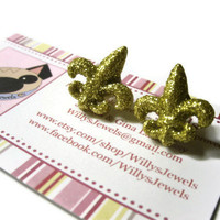 Fleur De Lis Stud Earrings, New Orleans Saints, Gold Glitter Coating, Acrylic, Metal Gold Toned Brass Posts
