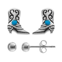 Simulated Turquoise Sterling Silver Cowboy Boot & Ball Stud Earring Set (Blue)