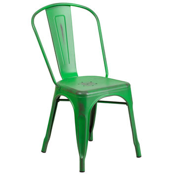 Distressed Green Metal Indoor-Outdoor Stackable Chair