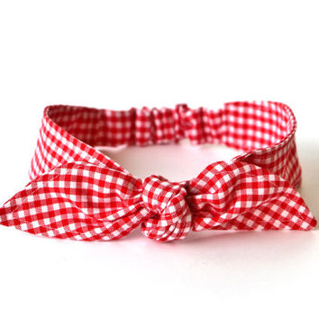 Baby Toddler Pre-tied Head Scarf Red Gingham Baby Headband Hair Accessory photo prop Girls Headband Rockabilly Rosie the Riveter