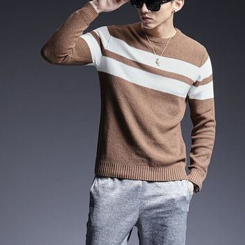 New Fashion Brand Sweater For Mens Pullovers O-Neck Slim Fit Jumpers Knitred Thick Korean Style Casual Men Clothes