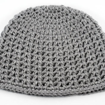 Gray Lacy V-Stitch Crochet Baby Hat // Heather Gray Baby Beanie // 6 to 9 Month Size