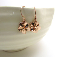 Rose gold plumeria earrings, rose gold jewelry, small flower earrings, rose gold earrings, floral Hawaiian jewelry, feminine dangle earrings