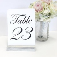 Table Number Holders White Wash Distressed Table Number Holder (Set of 20)