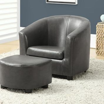 Leather-Look Juvenile Chair/Ottoman 2Pc Set Charcoal Grey