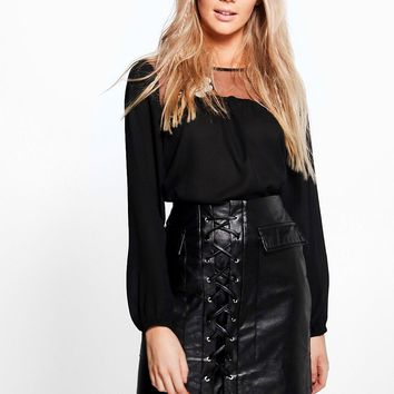 Aria Leather Look Lace Up Pocket Front Mini Skirt | Boohoo