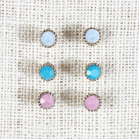 Gem Cut Earring Set