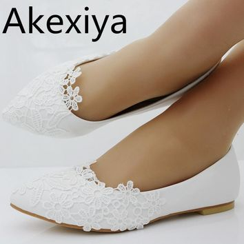Akexiya Ballet Flats White Lace Wedding Shoes Flat Heel Casual Shoes Pointed Toe Flats