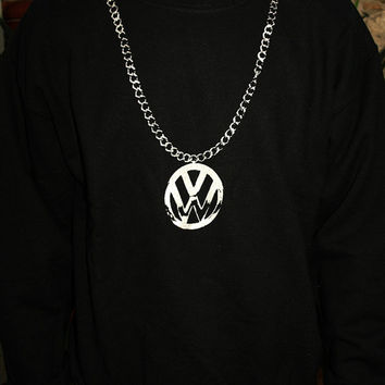 VW CHAIN SWEATSHIRT black unisex crewneck sweater jumper screen printed clothing hip hop 80s rap beastie boys beetle camper golf mens womens