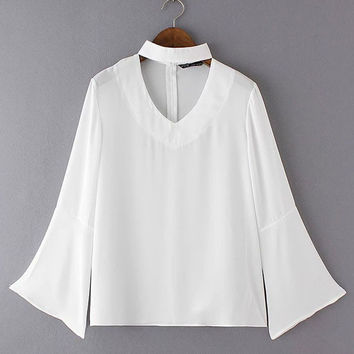 Summer V-neck Back Zipper Horn Sleeve Loose Chiffon Blouse