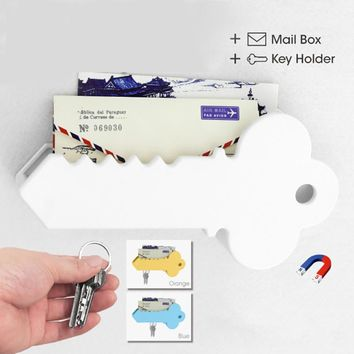 Creative Key shape Wall Suction home office Sets Cartoon Magnetic Key Holder / Mail Organizer Box Home Office Storage F3-09L