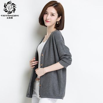 Women Cardigan High Quality Autumn Winter Sweater Loose Single Breasted Women's Sweaters Cashmere Lady Solid Vintage Sweater