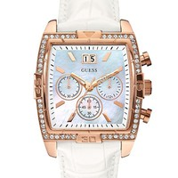 White and Rose Gold-Tone Glitzy Dress Watch | GUESS.com