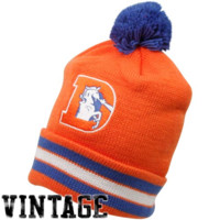 Mitchell & Ness Denver Broncos Orange-Royal Blue Throwback Jersey Striped Cuffed Knit Beanie