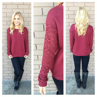 Burgundy Lace My Sleeves Sweater