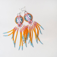 Long micro macrame earrings - Tassel Fringe Orange Pink Turquoise  White Unique