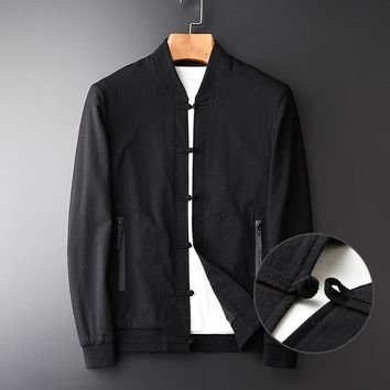Minglu Men's Jacket New Arrival Spring Chinese Style Bottons Stand Collar Men's Fashion