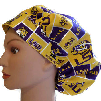 Women's Bouffant Surgical Scrub Hat Cap in LSU Tigers w/ Elastic and Cord-Lock