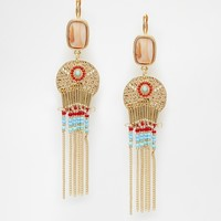 Designsix Coin & Colourful Tassel Drop Earrings
