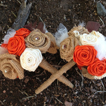 Orange and Burlap fabric flower Wedding Bouquet package- set of 5. Bohemian, rustic, hand made, custom made