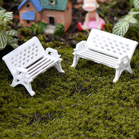 1/5pcs Garden Ornament Miniature Park Seat Bench Craft Fairy Dollhouse Decor DIY