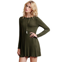 New Spring O-neck  Army Green Long Sleeve Above Knee Women Loose Casual Dresses OBS5068
