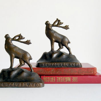 Vintage Bookends Bronze Deer / Elk / Caribou by CalloohCallay