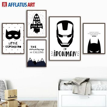 Wall Art Posters And Prints Black White Cartoon Superhero Batman Nordic Poster Canvas Painting Wall Pictures Kids Room Decor